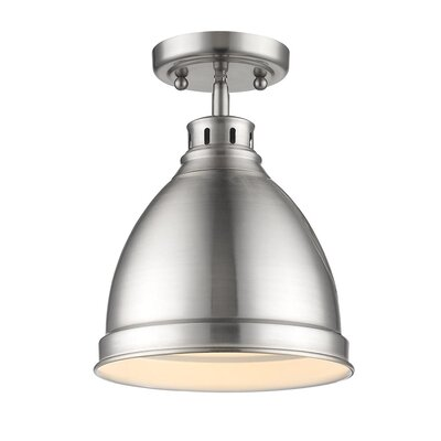 Bodalla 1-Light Semi Flush Mount Finish: Pewter with Pewter Shade
