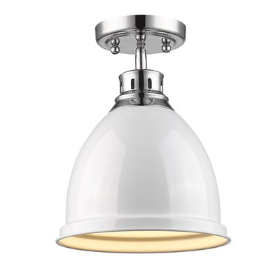 Bodalla 1-Light Semi Flush Mount Finish: Chrome with White Shade