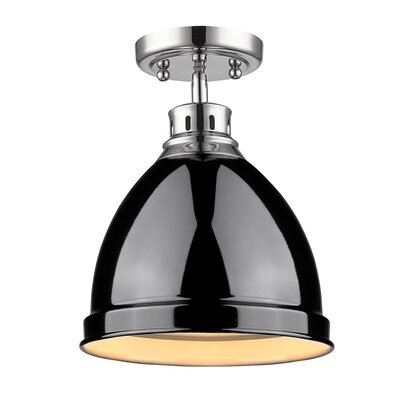 Bodalla 1-Light Semi Flush Mount Finish: Chrome with Black Shade
