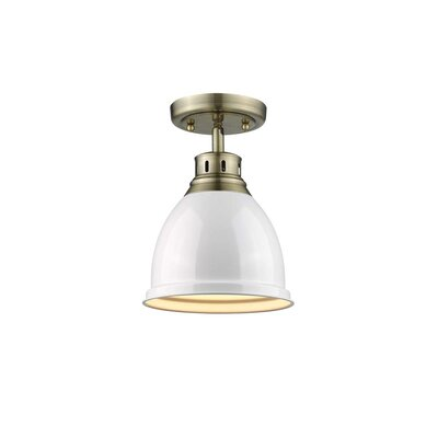 Bodalla 1-Light Semi Flush Mount Finish: Aged Brass with White Shade
