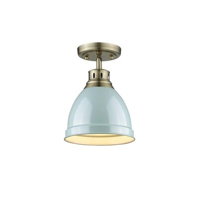 Bodalla 1-Light Semi Flush Mount Finish: Aged Brass with Seafoam Shade
