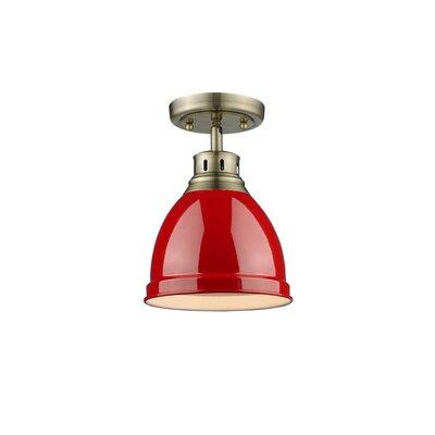 Bodalla 1-Light Semi Flush Mount Finish: Aged Brass with Red Shade