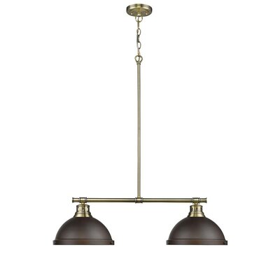 Bodalla 2-Light Kitchen Island Pendant Finish: Aged Brass with Rubbed Bronze Shade