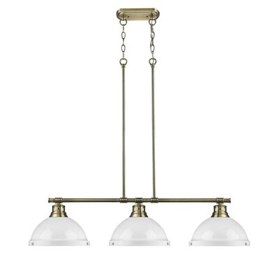 Bodalla 3-Light Kitchen Island Pendant Finish: Aged Brass with White Shade