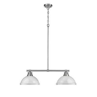 Bodalla 2-Light Kitchen Island Pendant Finish: Pewter with White Shade