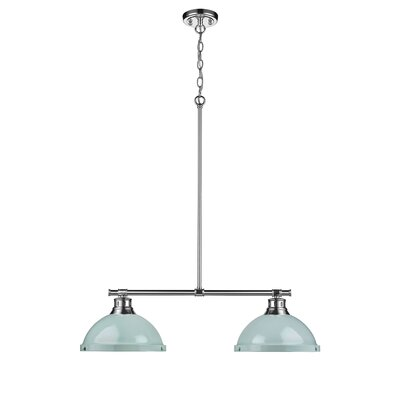 Bodalla 2-Light Kitchen Island Pendant Finish: Chrome with Seafoam Shade