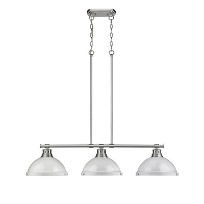 Bodalla 3-Light Kitchen Island Pendant Finish: Pewter with White Shade