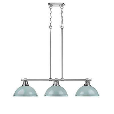 Bodalla 3-Light Kitchen Island Pendant Finish: Pewter with Seafoam Shade