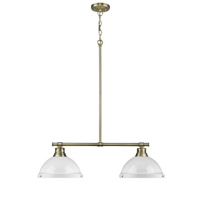 Bodalla 2-Light Kitchen Island Pendant Finish: Aged Brass with White Shade