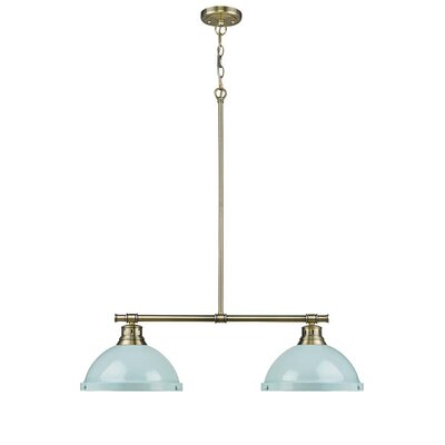 Bodalla 2-Light Kitchen Island Pendant Finish: Aged Brass with Seafoam Shade