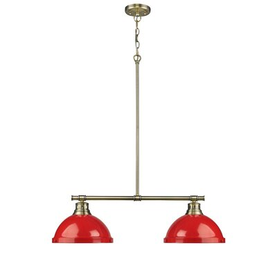 Bodalla 2-Light Kitchen Island Pendant Finish: Aged Brass with Red Shade
