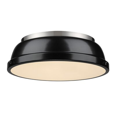 Bodalla 2-Light Dome Flush Mount Finish: Pewter with Black Shade