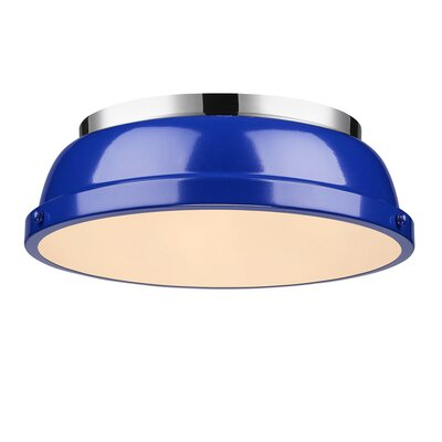 Bodalla 2-Light Dome Flush Mount Finish: Chrome with Blue Shade