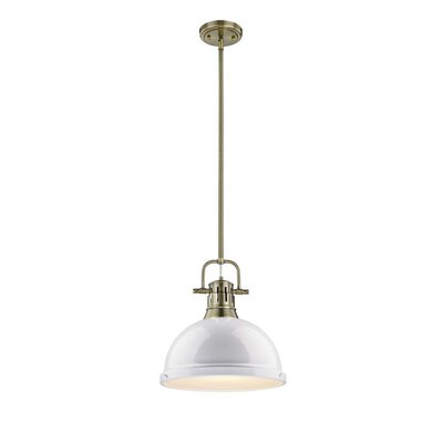 Bodalla 1-Light Pendant Finish: Aged Brass with White Shade