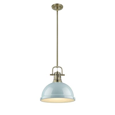Bodalla 1-Light Mini Pendant Finish: Aged Brass with Seafoam Shade
