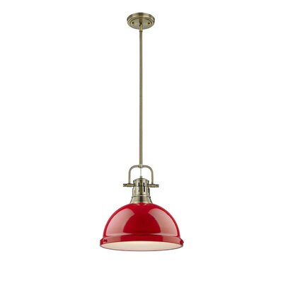Bodalla 1-Light Mini Pendant Finish: Aged Brass with Red Shade