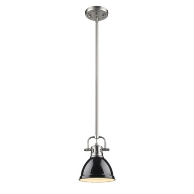 Bodalla 1-Light Bowl Metal Mini Pendant Finish: Chrome with Black Shade
