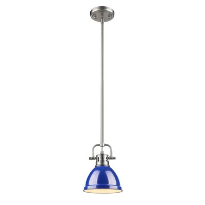 Bodalla 1-Light Bowl Metal Mini Pendant Finish: Chrome with Blue Shade