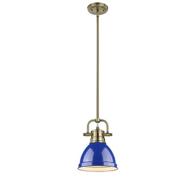 Bodalla 1-Light Bowl Metal Mini Pendant Finish: Aged Brass with Blue Shade