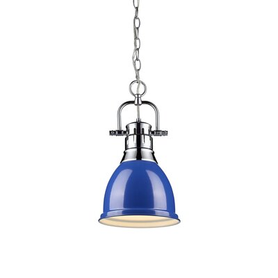 Balden 1-Light Inverted Pendant Finish: Chrome with Blue Shade