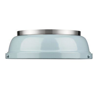 Bodalla 2-Light Dome Flush Mount Finish: Pewter with Seafoam Shade