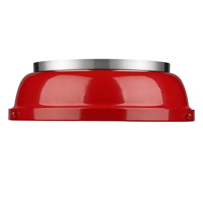 Bodalla 2-Light Dome Flush Mount Finish: Pewter with Red Shade