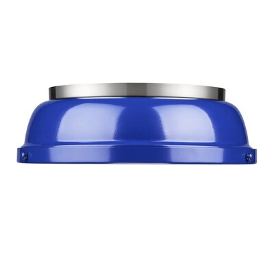 Bodalla 2-Light Dome Flush Mount Finish: Pewter with Blue Shade