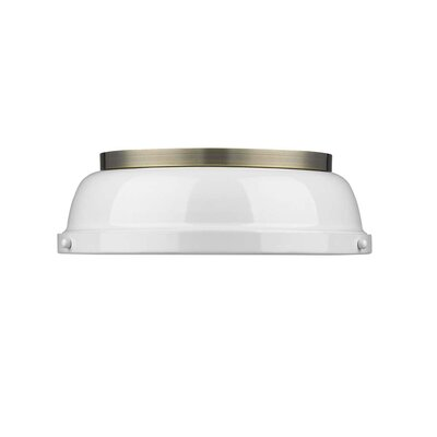 Bodalla 2-Light Dome Flush Mount Finish: Aged Brass with White Shade