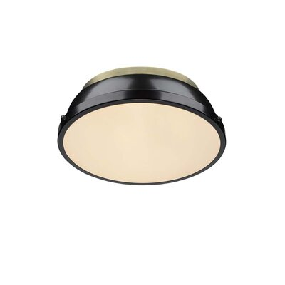Bodalla 2-Light Dome Flush Mount Finish: Aged Brass with Black Shade