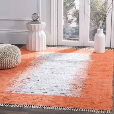 Ona Hand-Woven Cotton White/Orange Area Rug Rug Size: Rectangle 4 x 6