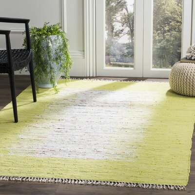 Ona Hand-Woven Cotton Ivory/Lime Area Rug Rug Size: Rectangle 5 x 8
