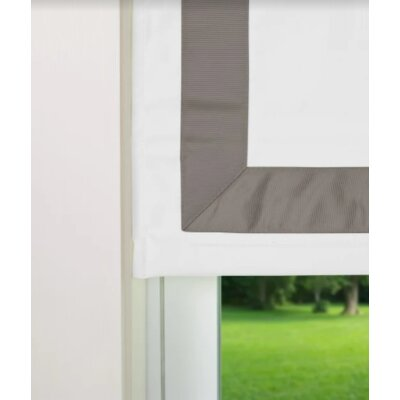 Indoor Cordless Roman Shade Color: Gray/White, Size: 32 W x 64 L