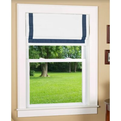 Indoor Cordless Roman Shade Color: Navy/White, Size: 27 W x 64 L