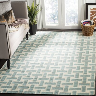 Masaryktown Hand-Woven Wool Turquoise/Ivory Area Rug Rug Size: Rectangle 4 x 6
