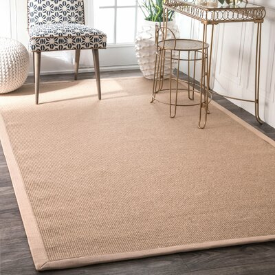 Yasmine Cotton Border Sand Area Rug Rug Size: Rectangle 5 x 8