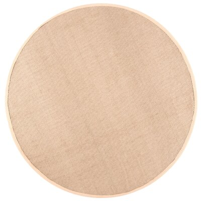 Yasmine Cotton Border Sand Area Rug Rug Size: Round 6