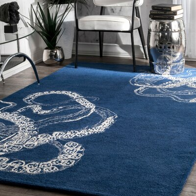 Claretta Hand-Tufted Blue Area Rug Rug Size: Rectangle 3 x 5
