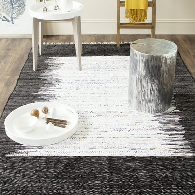 Ona Hand-Woven Cotton White/Black Area Rug Rug Size: Rectangle 5 x 8