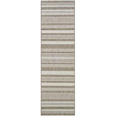 Anguila Stripe Gray/Beige Indoor/Outdoor Area Rug Rug Size: Runner 23 x 119