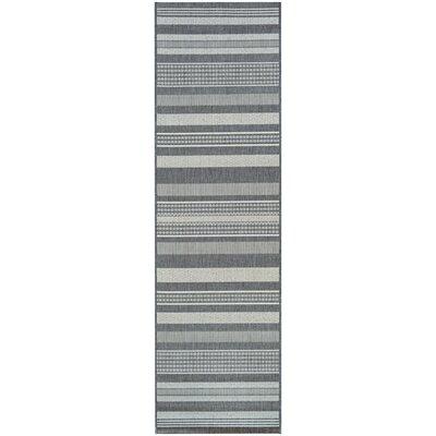 Anguila Stripe Gray Indoor/Outdoor Area Rug Rug Size: Runner 23 x 119