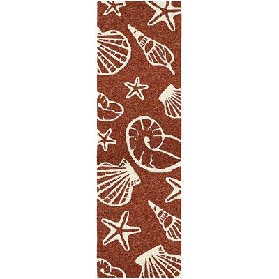 Monticello Cardita Shells Hand-Hooked Terracotta Indoor/Outdoor Area Rug Rug Size: Runner 26 x 86