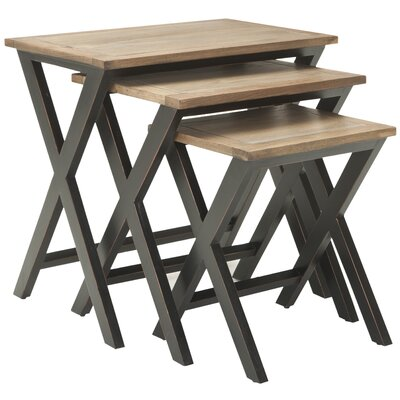 3 Piece Edgecomb Nesting Table Set Finish: Black/Oak