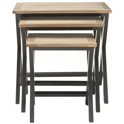Edgecomb 3 Piece Nesting Tables Color: Black/Oak