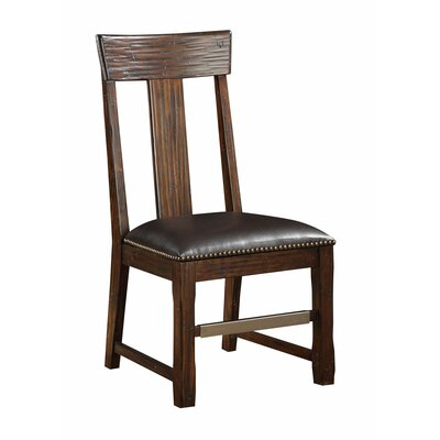 Tetonia Genuine Leather Upholstered Dining Chair (Set of 2)