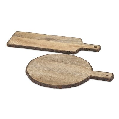 Loon Peak Telluride 2 Piece Wood Bark Cheese Tray Set