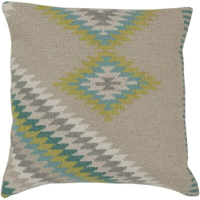 Elmira 100% Cotton Throw Pillow Color: Oyster Gray / Aqua, Size: 20 H x 20 W x 4 D, Filler: Down