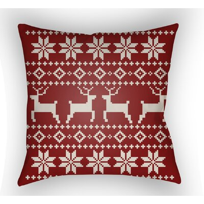 Battlement Indoor/Outdoor Throw Pillow Size: 18 H x 18 W x 4 D, Color: Red/Beige
