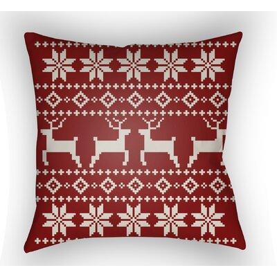 Battlement Indoor/Outdoor Throw Pillow Size: 20 H x 20 W x 4 D, Color: Red/Beige