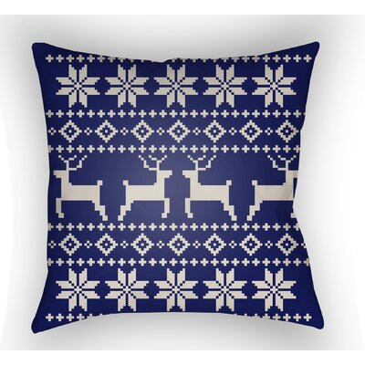 Battlement Indoor/Outdoor Throw Pillow Size: 18 H x 18 W x 4 D, Color: Blue/Beige