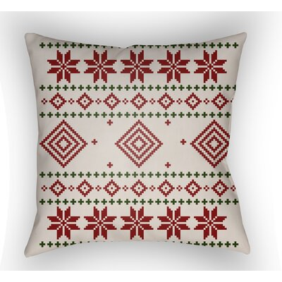 Battlement II Indoor Outdoor Throw Pillow Size: 18 H x 18 W x 4 D, Color: Red/Neutral/Black